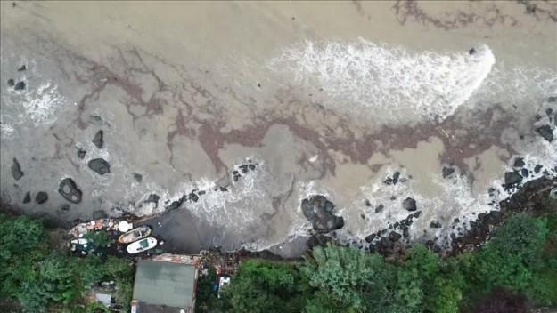 Selin ardından denize sürüklenen fındıklar havadan böyle görüntülendi