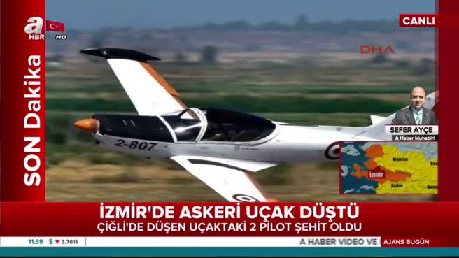 İzmir'de askeri uçak düştü 2 pilotun şehit olduğu bildirildi.!